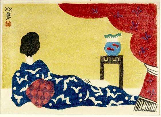 Kawanishi Hide, Reclining Beauty, c. 1940, woodblock print