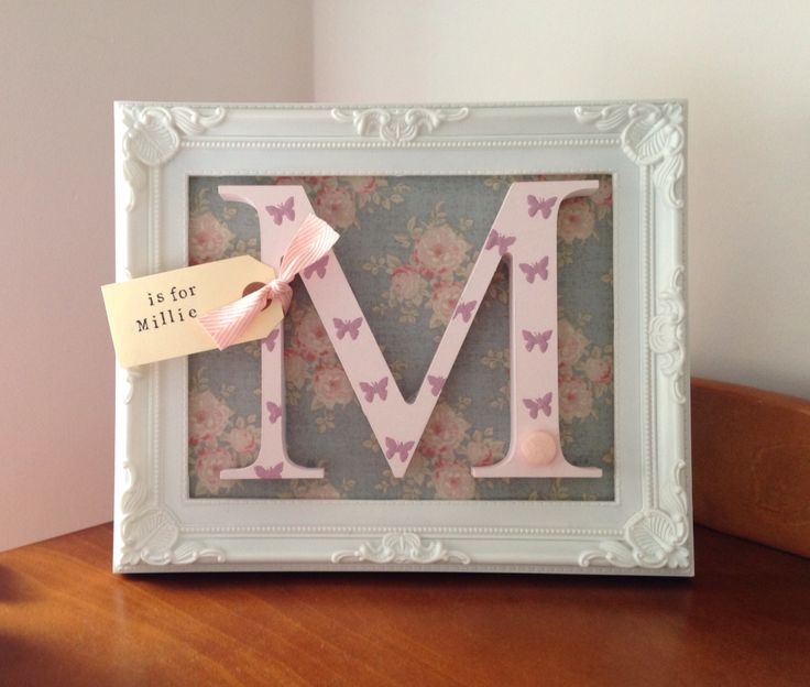 Beautiful handpainted wooden letter for little girls bedroom