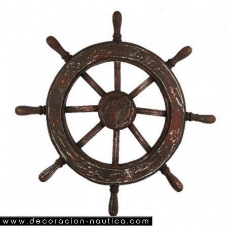 TIMON ANTIGUO Timón de barco de estilo rústico con 8 brazos realizada en madera y pintada a mano. Reproducción de un timón antiguo  Medidas: Alto:78.00 x Largo:78.00 x Ancho:7.00 cm.
