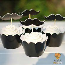 24 stuks, candy bar 12set/lot verjaardag partij decoratie cupcake wrappers gunsten happy brithday snor cup cakes toppers picks(China (Mainland))