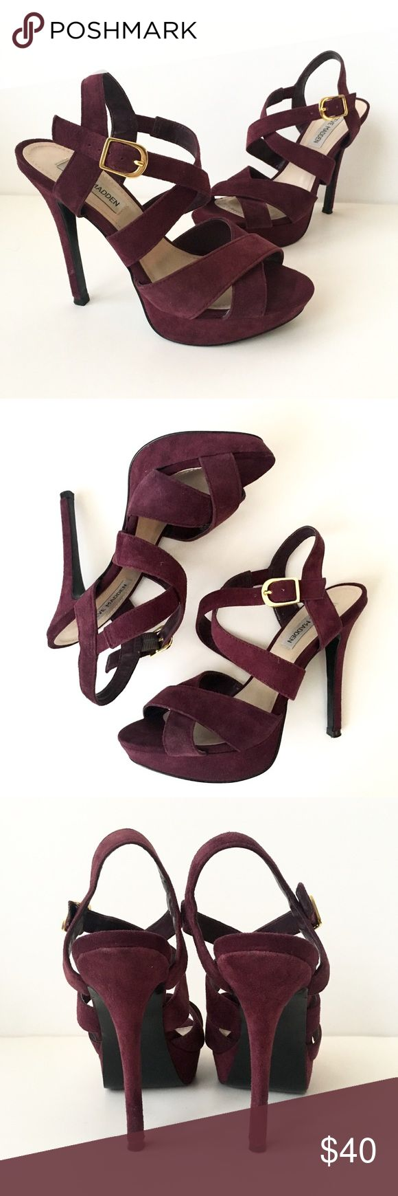 """Steve Madden Burgundy Suede Tarrah Heel Stiletto sandal. Strap and buckle closure. In good condition, please inspect photos carefully for all sighs of wear. Burgundy/maroon color.  Will fit 7-7.5. I am normally a 6.5/7 and these fit but just a little too big for me.   Heel height: approx 5"""" Platform height: almost 1""""  Open to offers or bundle for a private discount! Steve Madden Shoes Heels"""