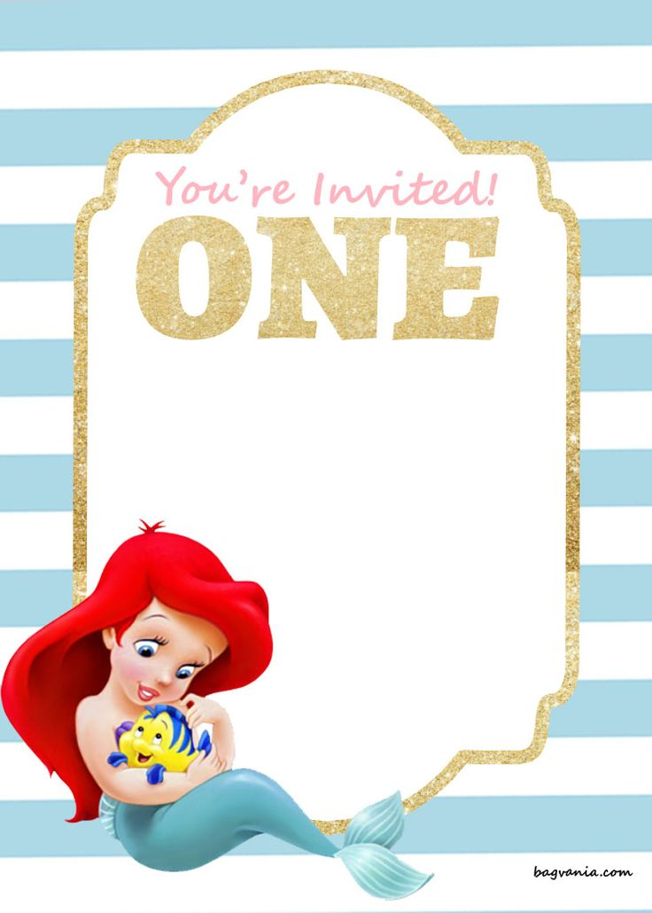 Download Free Printable Birthday Invitations - Ariel Mermaid