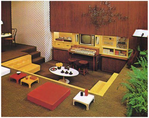 1960s Sunken Living Room / Family Room with Home Entertainment Center. Dining Area in Background.   Sunken living room. Retro interior. 1970s decor