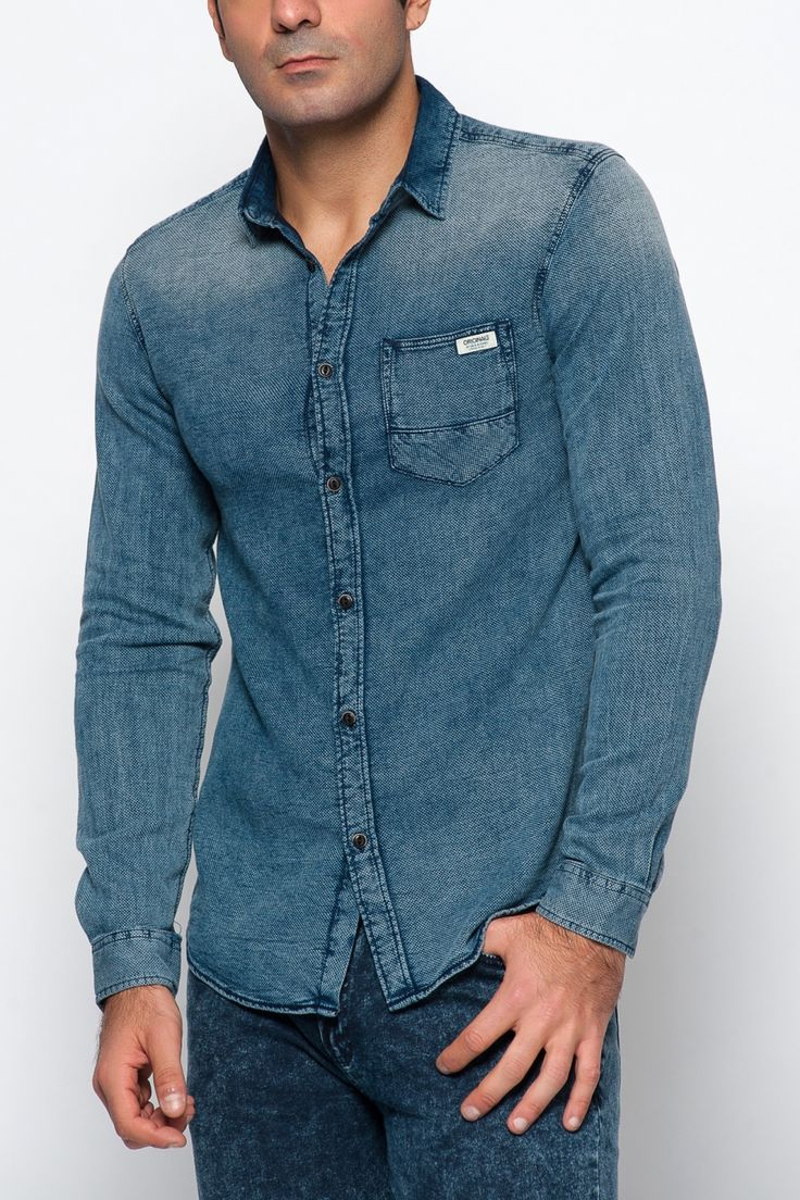 Jack & Jones Press Originals L/S One Pocket Gömlek Blue Denim, Üst Giyim Modelleri
