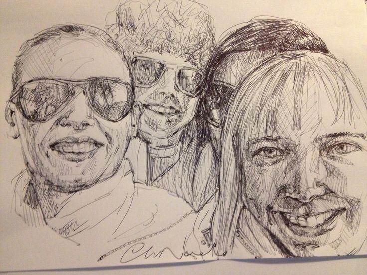 Me and the girls - black pen drawing by Chiara Nardo