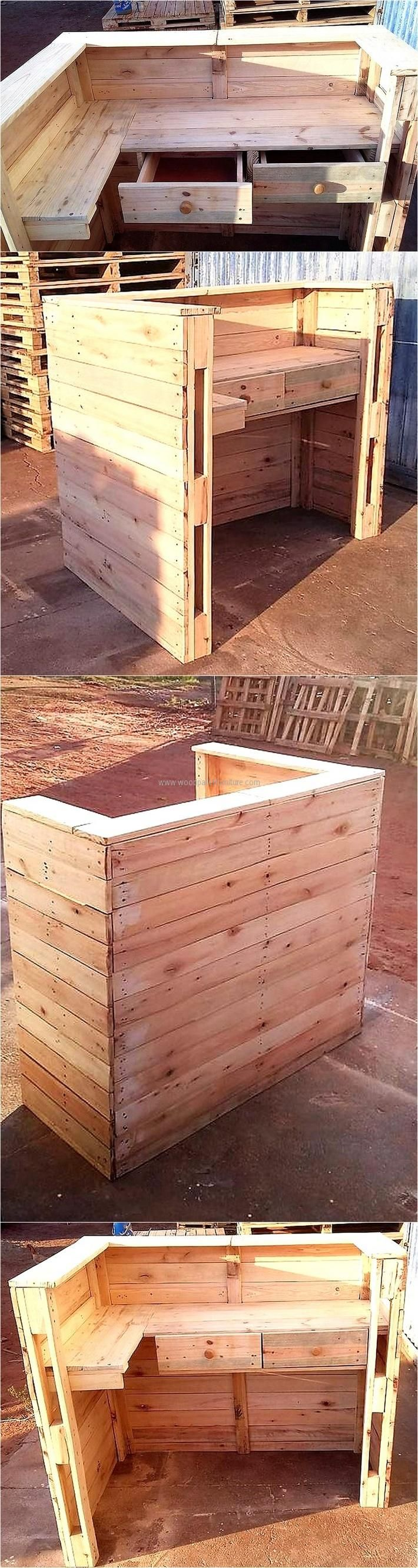 This is a wood pallet bar which can be used in a home for placing in the kid's room, so they can study easily and can get a comfortable place to complete their homework. There are drawers in which the stationary and the books can be kept.