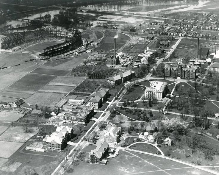 Great aerial from 1922 showing the old University Hall and Thompson on the right and the stadium being constructed on the left! OSU Archives (@BuckeyeHistory) | Twitter