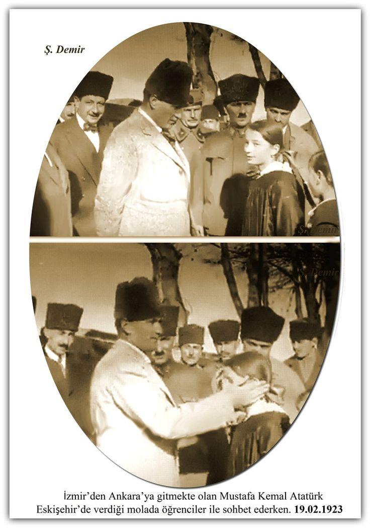 İzmir'den Ankara'ya gitmekte olan Mustafa Kemal Atatürk Eskişehir'de verdiği molada öğrenciler ile sohbet ederken. 19.02.1923
