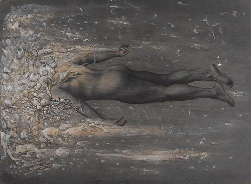 Il nuotatore d'abissi I° 2009 tecnica mista su  lino trasportato su  legno cm 68 x 100