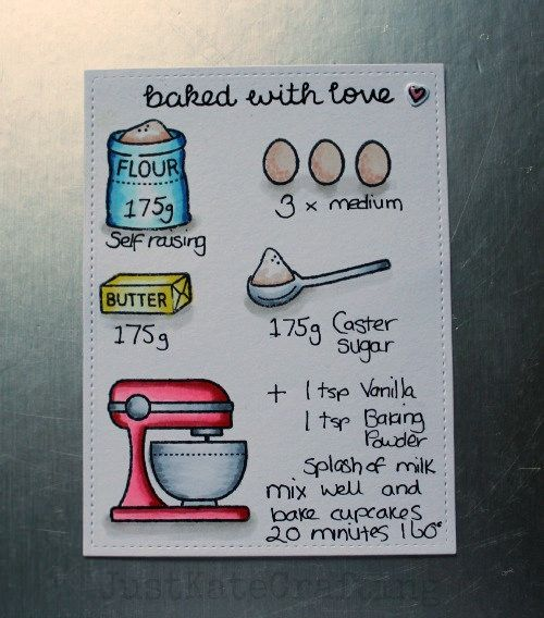 Lawn Fawn - Baked with Love, Stitched Rectangle _ clever recipe card illustrated with stamps by Kate via Flickr - Photo Sharing!