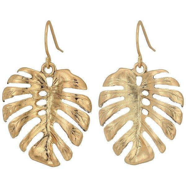 The Sak Palm Leaf Drop Earrings (Gold) Earring (22,630 KRW) ❤ liked on Polyvore featuring jewelry, earrings, accessories, yellow gold drop earrings, silvertone earrings, gold earrings, yellow gold jewelry and gold drop earrings