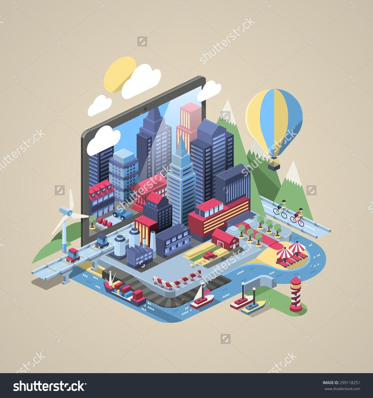 vector illustration with city on a laptop