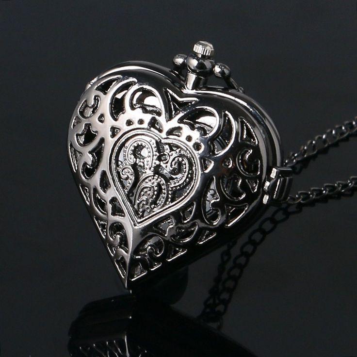 Черный Пирсинг В Форме Сердца Карманные Часы Ожерелье Цепь Подвеска Женщины Подарок P76 #hats, #watches, #belts, #fashion, #style