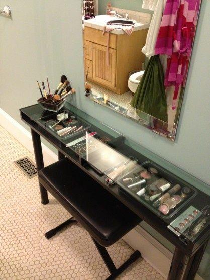 Organized beauty - brilliant idea! EKBY GRUVAN Ikea with ADILS legs