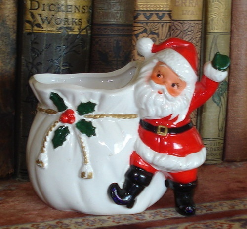 Vintage Christmas Ceramic Santa Sack Planter Japan 1950s