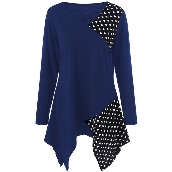 Plus Size Polka Dot Trim Asymmetrical T Shirt (€11) ❤ liked on Polyvore featuring tops, t-shirts, plus size tops, plus size womens tees, asymmetric t shirt, blue t shirt and women's plus size tops