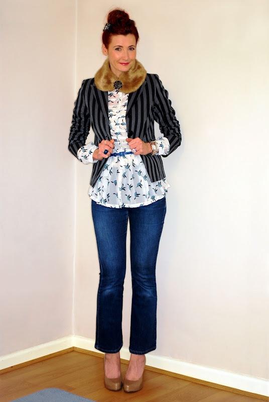 Not Dressed As Lamb: Vintage bird in fur and stripes... faux fur collar, striped blazer, bird print blouse