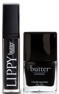 """Butter London """"Lips & Tips"""" set in Union Jack Black. Get wicked in the dark with our Lips & Tips duo featuring Union Jack Black.    """"Vampy, trampy and bold, this matchy-matchy look found on the catwalks this season boasts intense, long-wearing colour that glides on like liquid leather – fit for the lustiest snog. Riding crop and stilettos not included."""""""