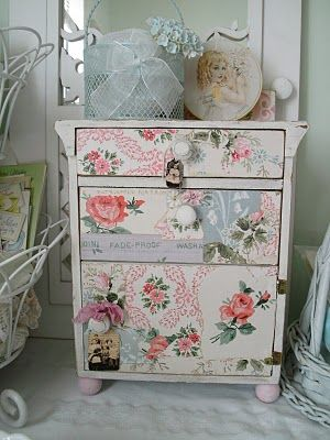 Precious - vintage wallpaper covered chest