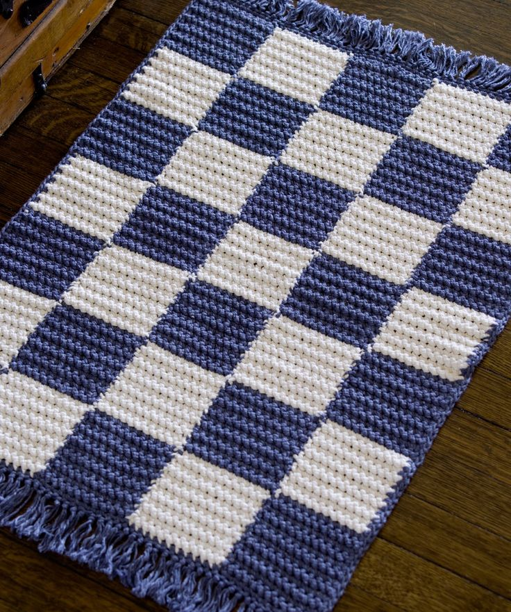crochet checkerboard rug free easy peasy pattern