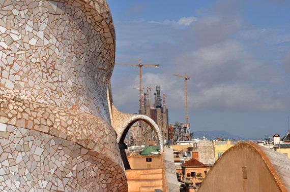 Gaudi Sculpture with view of Sagrada Familia in Barcelona Spain.  Travel photography by Diane Greene Lent