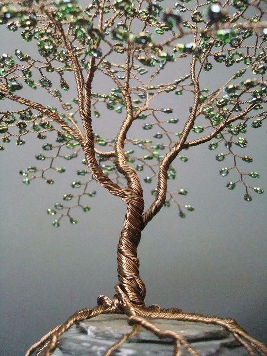 Metallic Olive Beaded Bonsai Wire Tree Sculpture