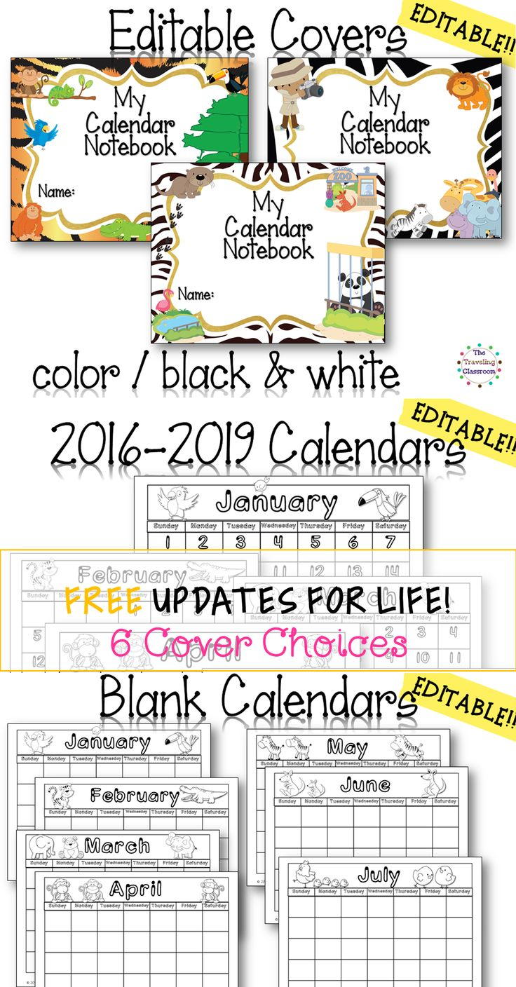 The complete Calendar Time Bundle includes: The Editable Calendar Notebook Set AND Calendar Time worksheets for the whole year! This set is currently updated for all months through 2019!$