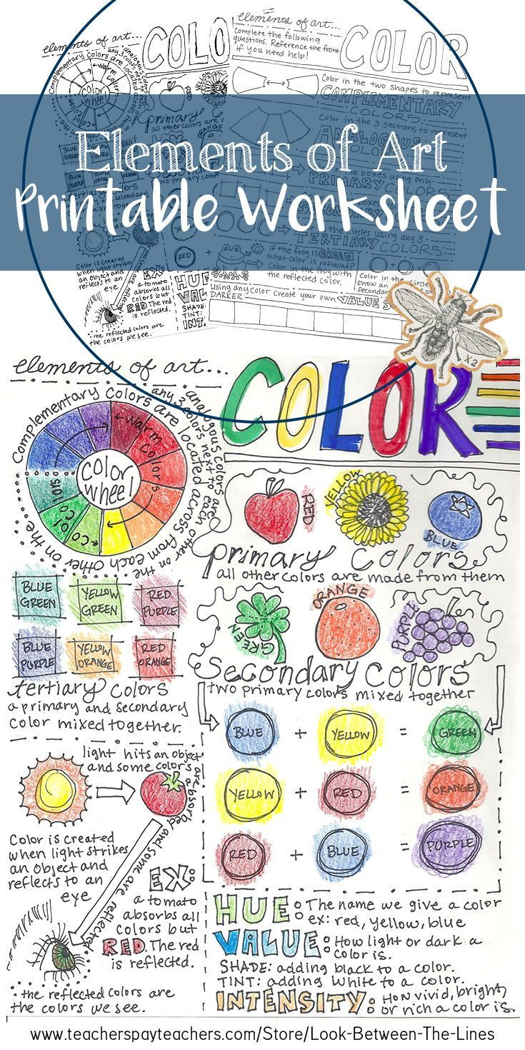 This Elements Of Art Printable Worksheet Covers The Element Of Art Color The Front Includes Info Elements Of Art Color Elements Of Art Art Education Projects [ 1470 x 735 Pixel ]
