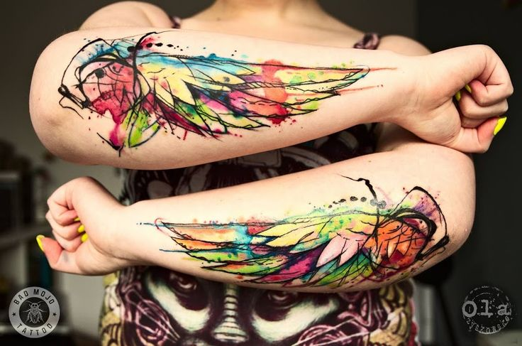 #Armstattoo   #Wingstattoo   #Colourfultattoo   #3dtattoo   #Tattoo   #Tattooart   By Tattoo Artist Ola Zyskowska