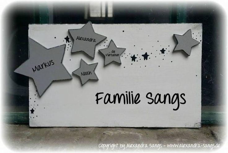 Türschild+Familienschild+Stern+Sterne+Shabby++von+Handgemachte+Holzarbeiten+&+dekorative+Geschenke+by+Alexandra+Sangs+auf+DaWanda.com
