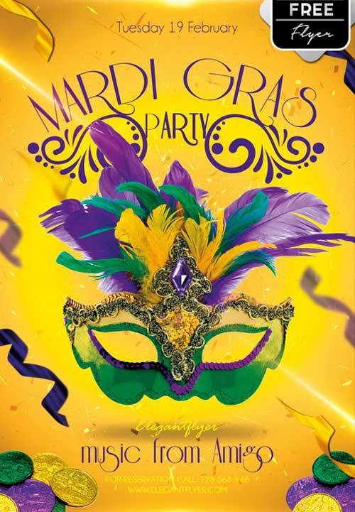 Free Mardi Gras Party PSD Flyer Template - http://freepsdflyer.com/free-mardi-gras-party-psd-flyer-template/ Enjoy downloading the Free Mardi Gras Party PSD Flyer Template by Elegantflyer! #Carnival, #Club, #Dance, #Event, #MardiGras, #Music, #Night, #Rio