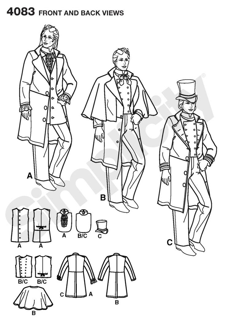 Mens Costumes: Coats, Costume Sewing Pattern 4083 Simplicity / Wes?