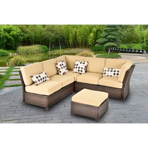 Cadence Wicker 3 Piece Outdoor Sectional Sofa Set, Tan, Seats 5