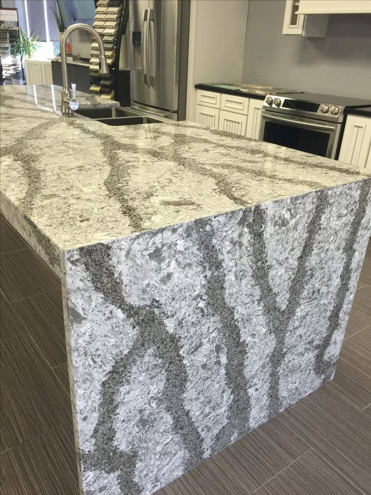 Cambria galloway quartz countertop done with a waterfall for Who makes quartz countertops