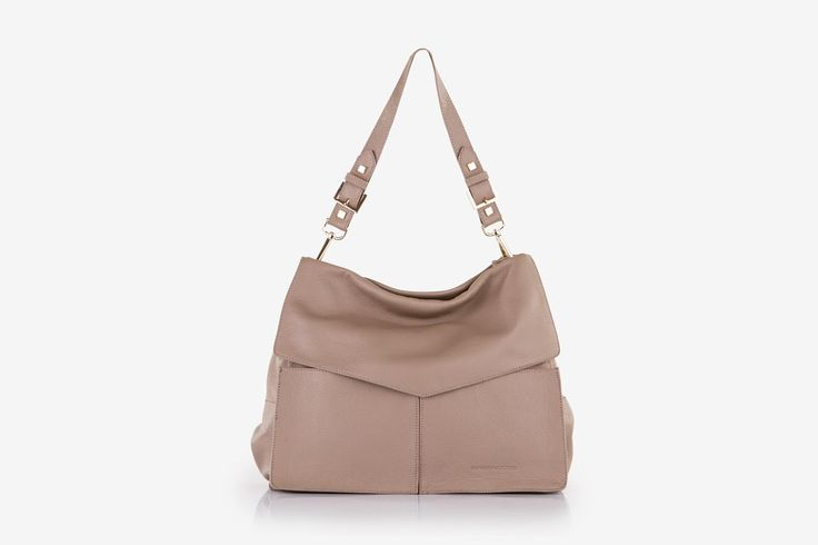 Minerva in taupe pebbled calf leather - Front view.