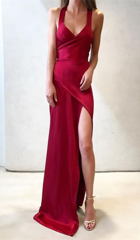 6d6b5768305 Sheath Straps Sleeveless Sweep Train Red Prom Dress with Split-Front ...