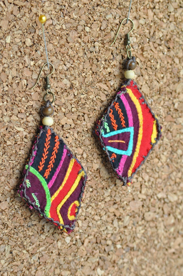 spanish fabric earrings-- applique scrap pieces of material together for earring--brilliant idea