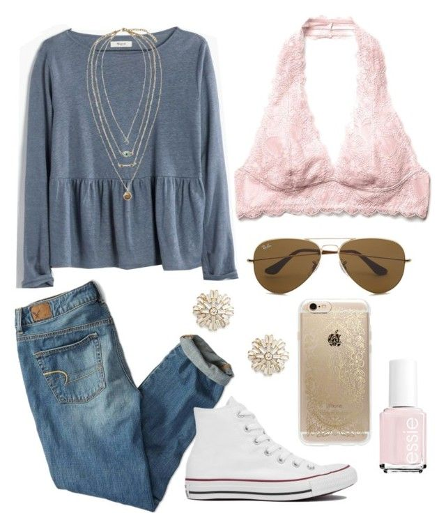 """""""Untitled #267"""" by juliacm-bush ❤ liked on Polyvore featuring Essie, Madewell, American Eagle Outfitters, Converse, Free People, Ray-Ban, Rifle Paper Co and Sole Society"""