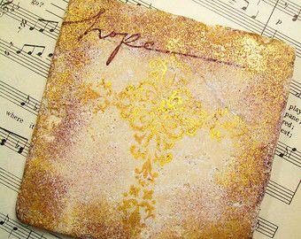 Gouden Kruis Gift Coasters religieuze Gift tabel Decor hoop in Jezus Set van 4…