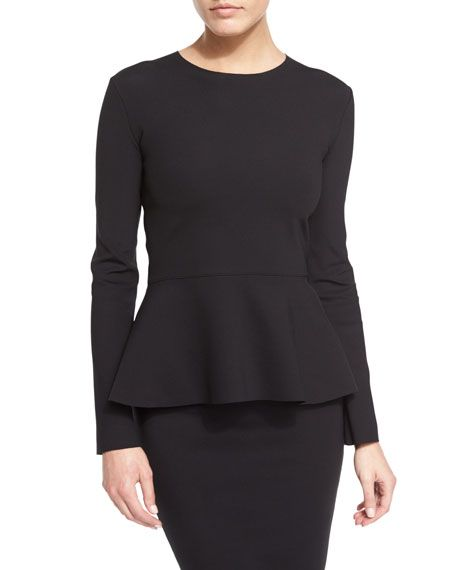 "THE ROW ""Mel"" scuba top. Approx. 25""L down center back. Jewel neckline. Long sleeves. Fitted silhouette. Peplum hem. Pullover style. Nylon/spandex. Hand wash or dry clean. Made in USA of Italian mater"
