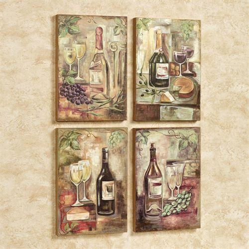 Fine Wines Wall Art Multi Warm Set of Four