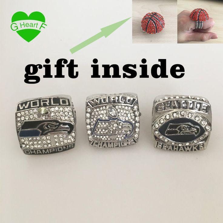 2005 2013 2014Seattle Seahawks Voetbal Super Bowl Championship Ring Kristal Klassieke Souvenir Steampunk Gothic Mannen Ring