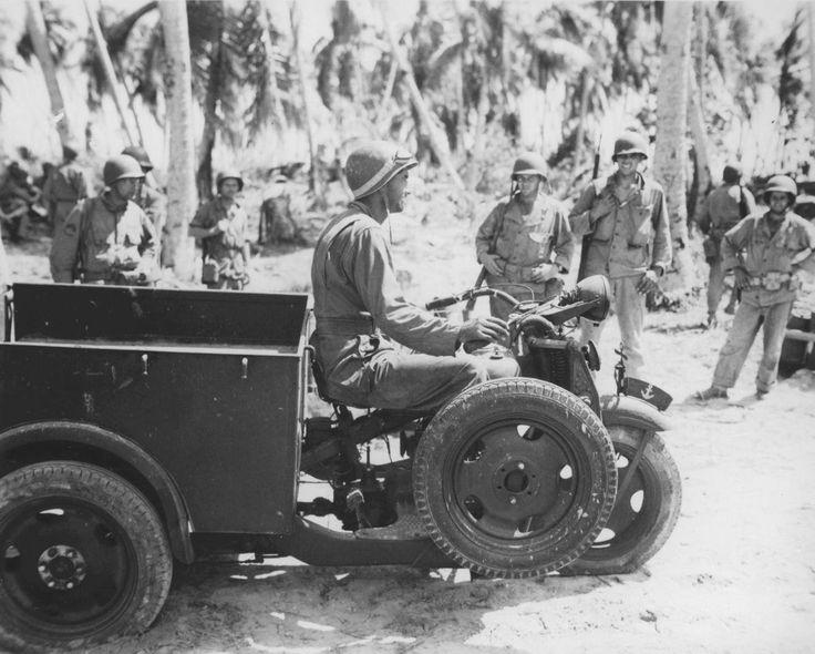 US Marine on a captured Japanese Navy vehicle, Makin, Gilbert Islands, late 1943