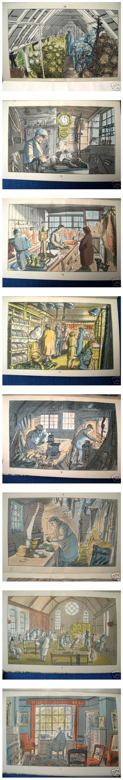 'Life in An English Village' a book from 1949 containing sixteen lithographs by Edward Bawden.