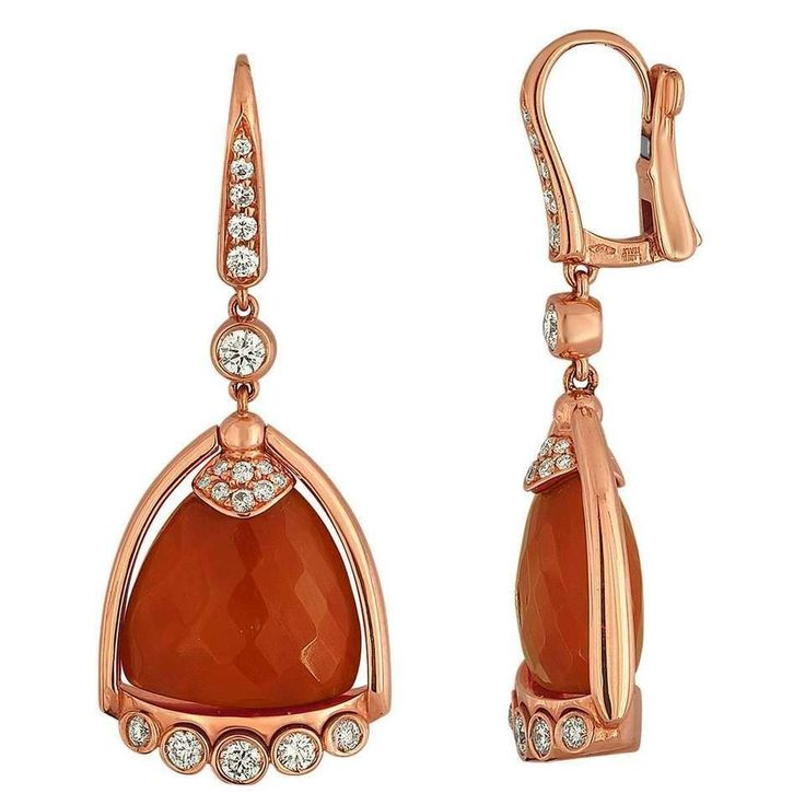 Angeletti Coral and Rose Gold Italian Diamond Earrings #GoldJewelleryItalian #GoldJewelleryEarrings