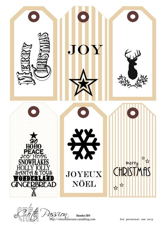 fiche 6 tags Christmas