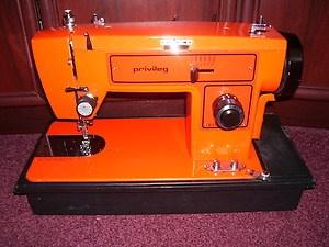 vintage funky retro bright orange sewing machine privileg 152m japan japanese sewing. Black Bedroom Furniture Sets. Home Design Ideas