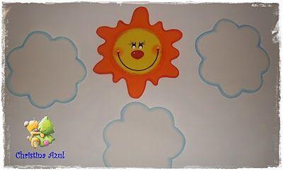 Cristina azul. Sol y nubes de goma eva