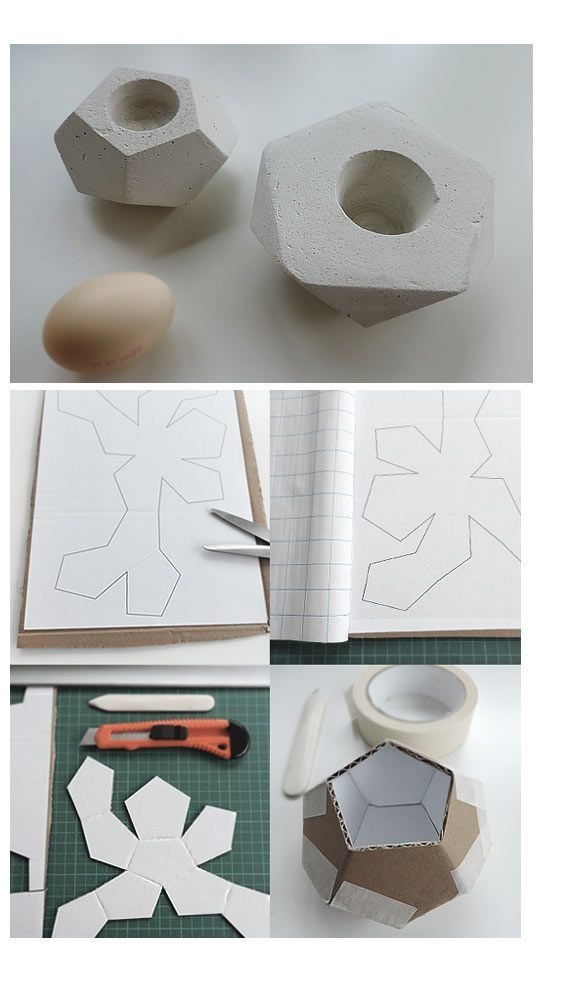Home Decorating Ideas For Cheap Gipsgießform aus altem Karton / Mould for cement art made of old cardboard / Up…