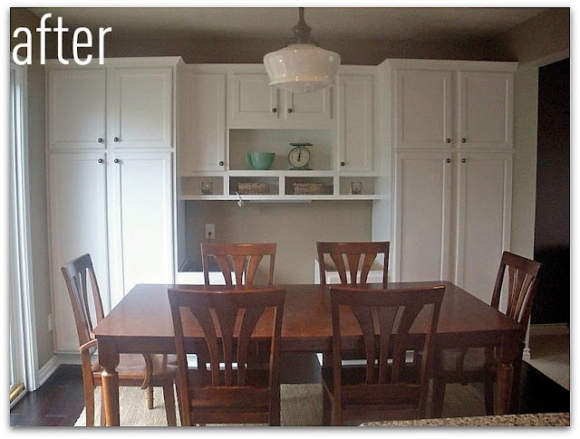 added cabinets and desk to dining area: Beautiful Kitchens, Dreams Houses, Spaces Ideas, Dining Table, Built In, Delight Design, Dreams Diningroom, Client Kitchens, Crafty Ideas